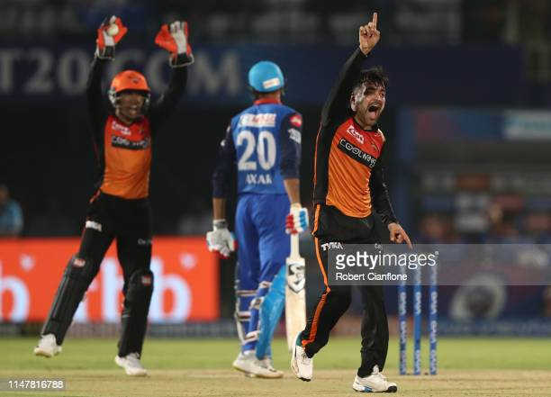 Rashid Khan of the Sunrisers Hyderabad takes the wicket of Axar Patel of the Delhi Capitals during the Indian Premier League IPL Eliminator Final...