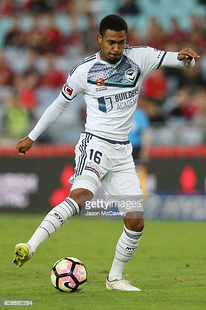 Rashid Mahazi of the Victory kicks during the round 10 ALeague match between the Western Sydney Wanderers and the Melbourne Victory at ANZ Stadium on...