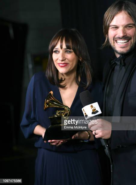 Rashida Jone and Alan Hicks accept the Best Music Film award for 'Quincy' at the 61st Annual GRAMMY Awards Premiere Ceremony at Microsoft Theater on...