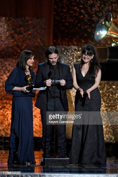 Rashida Jones Alan Hicks and Paula DuPré Pesmen accept Best Music Film for 'Quincy' at the premiere ceremony during the 61st annual GRAMMY Awards at...