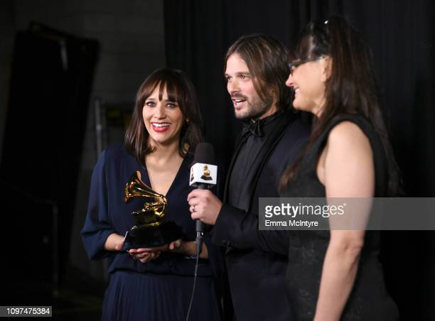 Rashida Jones Alan Hicks and Paula DuPré Pesmen accept the Best Music Film award for 'Quincy' at the 61st Annual GRAMMY Awards Premiere Ceremony at...