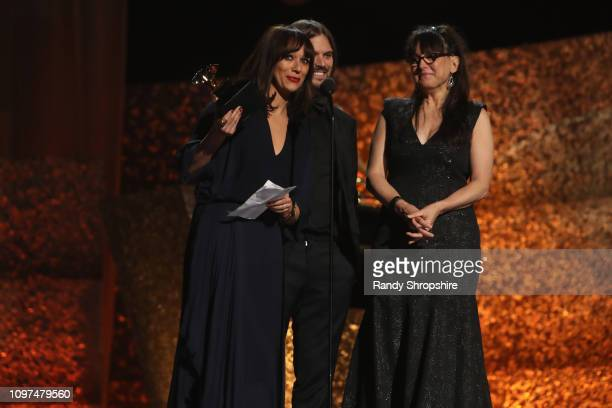 Rashida Jones Alan Hicks and Paula DuPré Pesmen accepts award for Best Music Film onstage at the 61st Annual GRAMMY Awards Premiere Ceremony at...