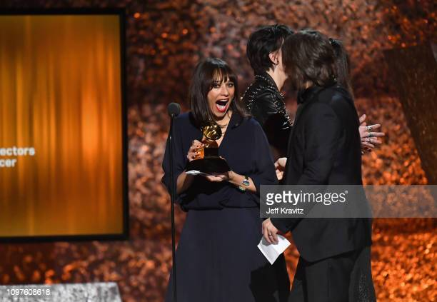 Rashida Jones Alan Hicks and Paula DuPré Pesmen accepts award for Best Music Film onstage at the premiere ceremony during the 61st Annual GRAMMY...