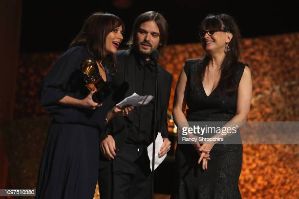 Rashida Jones Alan Hicks and Paula DuPre Pesmen accept award for Best Music Film for 'Quincy' onstage at the 61st Annual GRAMMY Awards Premiere...