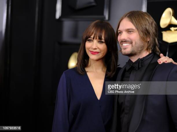 Rashida Jones and Alan Hicks are seen on the red carpet at THE 61ST ANNUAL GRAMMY AWARDS broadcast live from the STAPLES Center in Los Angeles Sunday...