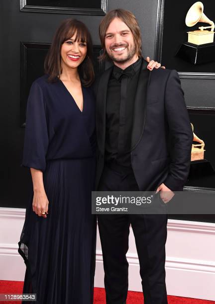 Rashida Jones and Alan Hicksarrives at the 61st Annual GRAMMY Awards at Staples Center on February 10 2019 in Los Angeles California