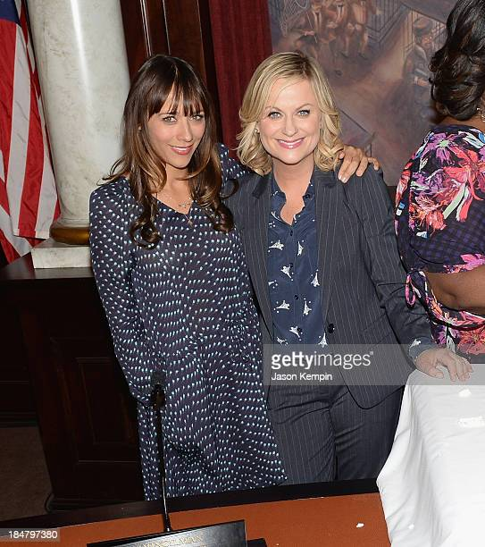 Rashida Jones and Amy Poehler attend the NBC Parks And Recreation 100th Episode Celebration at CBS Studios Radford on October 16 2013 in Studio City...
