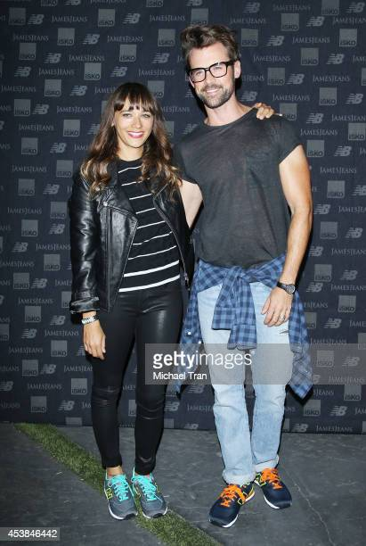 Rashida Jones and Brad Goreski arrive at the dance party with New Balance and James Jeans powered by ISKO held at a private residence on August 19...