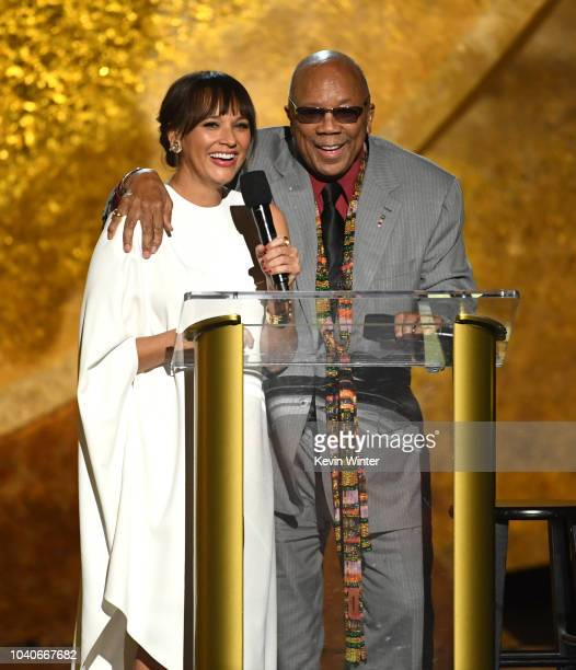 Rashida Jones and Quincy Jones speak onstage at Q85 A Musical Celebration for Quincy Jones at the Microsoft Theatre on September 25 2018 in Los...
