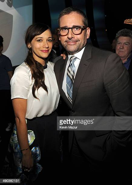 Rashida Jones and Steve Carell attend the TBS / TNT Upfront 2014 at The Theater at Madison Square Garden on May 14 2014 in New York City...
