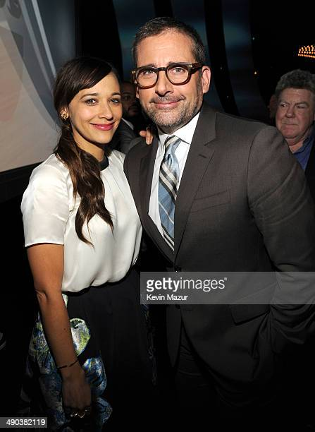 Rashida Jones and Steve Carell attends the TBS / TNT Upfront 2014 at The Theater at Madison Square Garden on May 14 2014 in New York City...