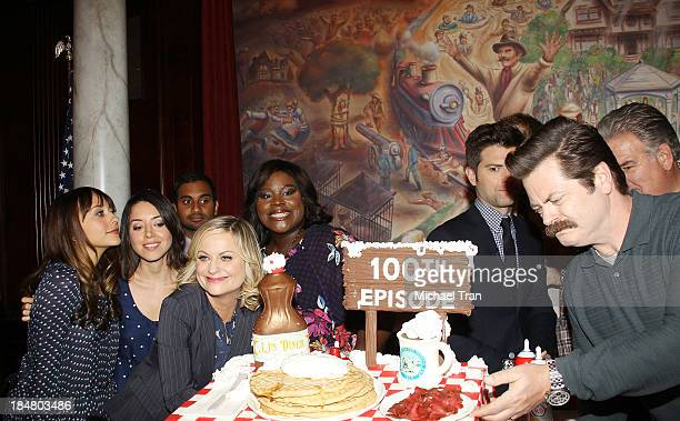 Rashida Jones Aubrey Plaza Amy Poehler Retta Aziz Ansari and Nick Offerman attend the Parks And Recreation 100th episode celebration held at CBS...