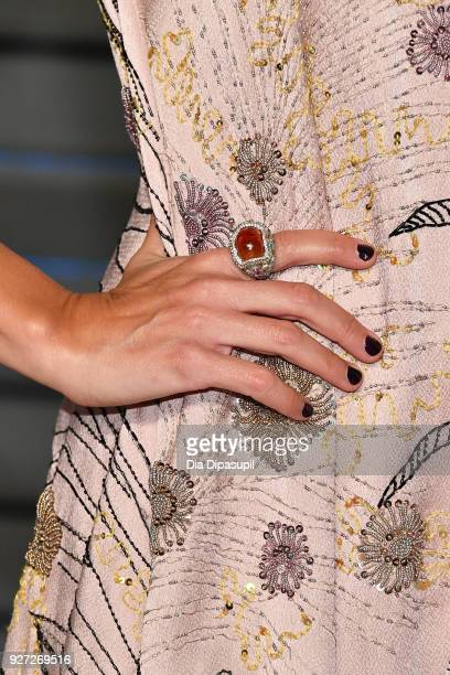 Rashida Jones fashion detail attends the 2018 Vanity Fair Oscar Party hosted by Radhika Jones at Wallis Annenberg Center for the Performing Arts on...
