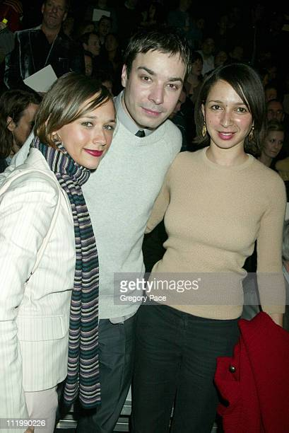 Rashida Jones Jimmy Fallon and Maya Rudolph during Marc Jacobs 2003 Fall Collection attendees at NY State Armory in New York NY United States