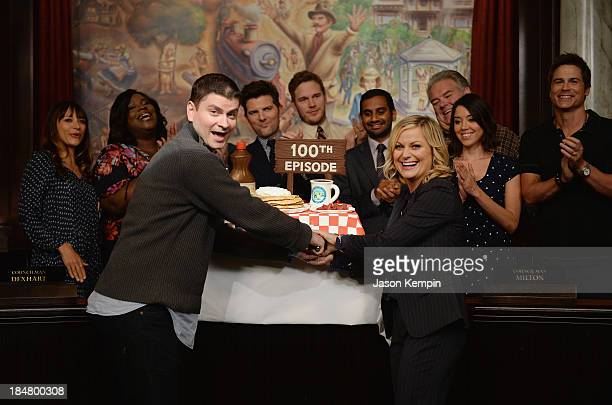 Rashida Jones Marietta Sirleaf Michael Schur Adam Scott Chris Pratt Aziz Ansari Amy Poehler Jim O'Heir Aubrey Plaza and Rob Lowe attend the NBC...