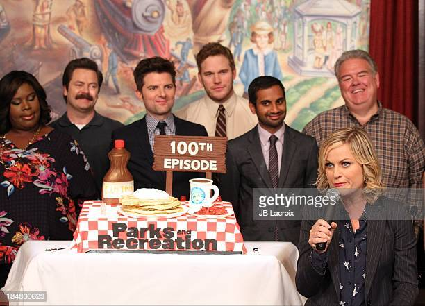 Rashida Jones Nick Offerman Marietta Sirleaf Michael Schur Amy Poehler Chris Pratt Aziz Ansari Jim O'Heir Aubrey Plaza and Rob Lowe attend the NBC...