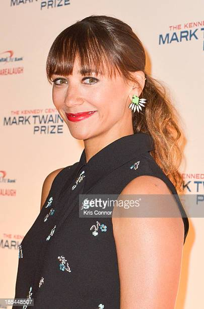 Rashida Jones poses on the red carpet during The 16th Annual Mark Twain Prize For American Humor at John F Kennedy Center for the Performing Arts on...