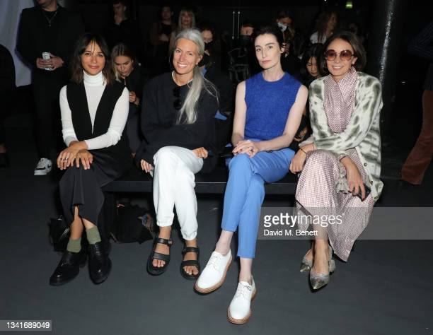 Rashida Jones, Sarah Harris, Erin O'Connor and Caroline Rush attend the COS AW21 show during London Fashion Week September 2021 at The Roundhouse on...