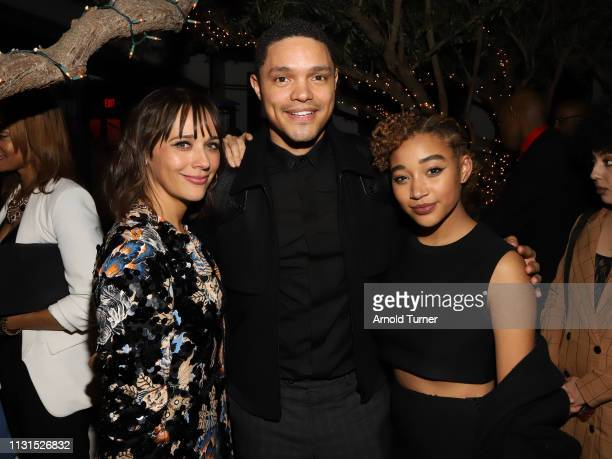 Rashida Jones Trevor Noah and Amandla Stenberg attend Common's 5th Annual Toast to the Arts at Ysabel on February 22 2019 in West Hollywood California