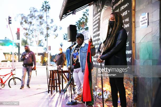 Rashida Olayiwola and Shannon Morton speak at a candlelight vigil for Andrew Brown, Ma'khia Bryant and Daunte Wright at The Laugh Factory on April...