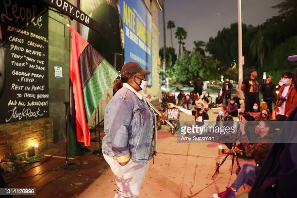 Rashida Olayiwola attends a candlelight vigil for Andrew Brown, Ma'khia Bryant and Daunte Wright at The Laugh Factory on April 23, 2021 in West...