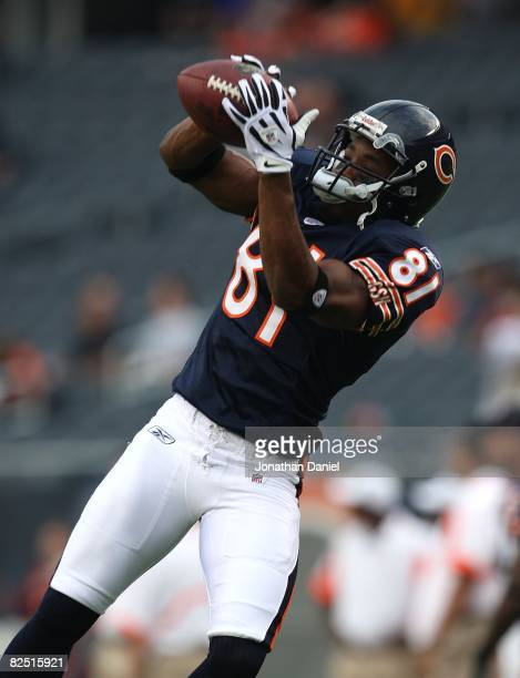 Rashied Davis of the Chicago Bears catches a pass during warmups before a game against the San Francisco 49ers on August 21 2008 at Soldier Field in...
