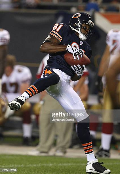 Rashied Davis of the Chicago Bears makes a catch against the San Francisco 49ers on August 21 2008 at Soldier Field in Chicago Illinois The 49ers...