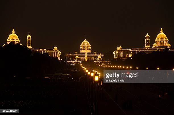 Rashtrapati Bhavan lit up at night, New Delhi, India