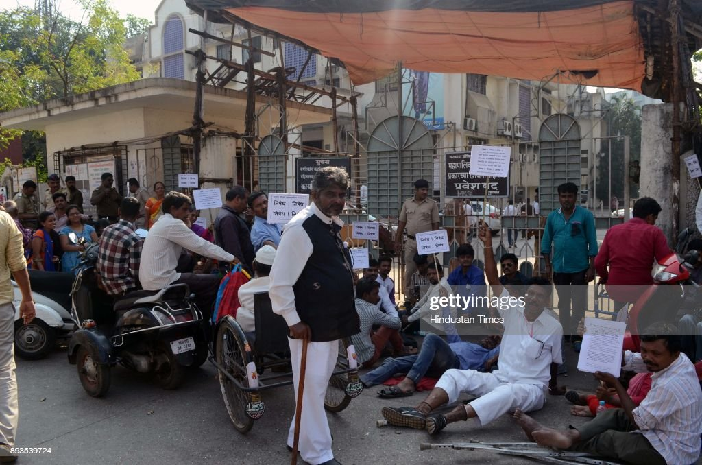 Rashtriya Apang Vikas Mahamandal Members Protest Outside Kalyan Dombivli Municipal Corporation