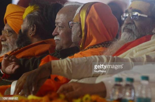Rashtriya Swayam Sevak Sangh head Mohan Bhagwat as other hindu saints attend 'Dharm Sansad ' or a Religious meeting organised by Vishwa Hindu...