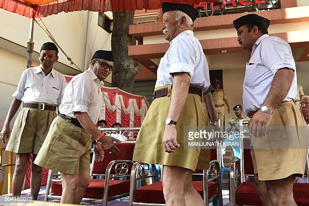 Rashtriya Swayamsevak Sangh chief Mohan Bhagwat arrives to witness the 'Shrung Ghosh Path Sanchalan' by RSS cadets in Bangalore on January 9 2016 The...