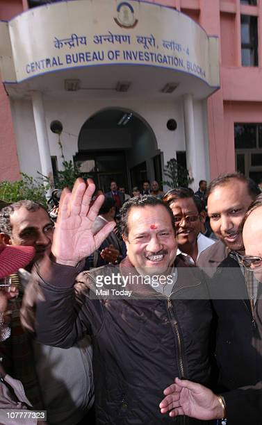Rashtriya Swayamsevak Sangh leader Indresh Kumar greeted by his supporters as he arrives at CBI Headquarters to appear before officials for...
