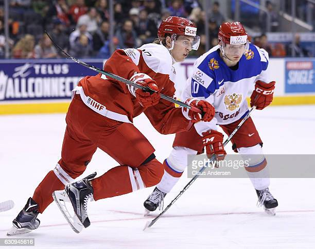 Rasmus Andersson of Team Denmark skates against Team Russia during a QuarterFinal game at the 2017 IIHF World Junior Hockey Championships at Air...