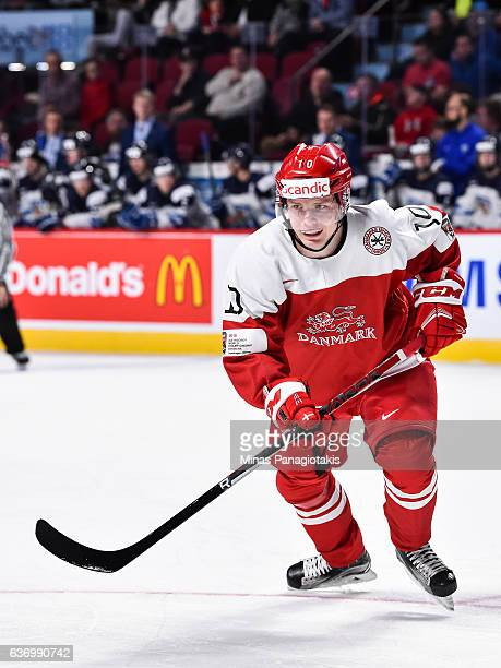 Rasmus Andersson of Team Denmark skates during the IIHF World Junior Championship preliminary round game against Team Finland at the Bell Centre on...