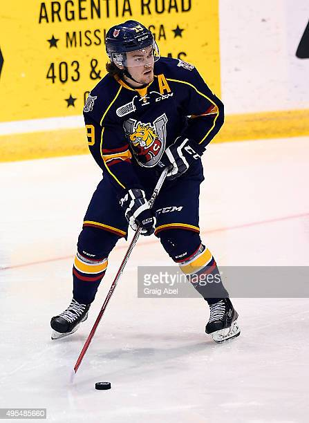Rasmus Andersson of the Barrie Colts controls the puck against the Mississauga Steelheads during OHL game action on November 1 2015 at the Hershey...