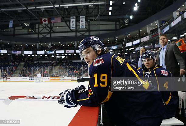 Rasmus Andersson of the Barrie Colts looks on from the bench during an OHL game against the Niagara IceDogs at the Meridian Centre on October 2 2015...