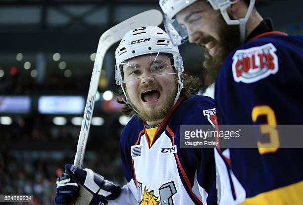 Rasmus Andersson of the Barrie Colts shouts at the Niagara IceDogs players during the second period in Game Three of the 2016 OHL Eastern Conference...
