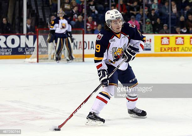 Rasmus Andersson of the Barrie Colts skates during an OHL game at the Meridian Centre against the Niagara IceDogs on March 19 2015 in St Catharines...