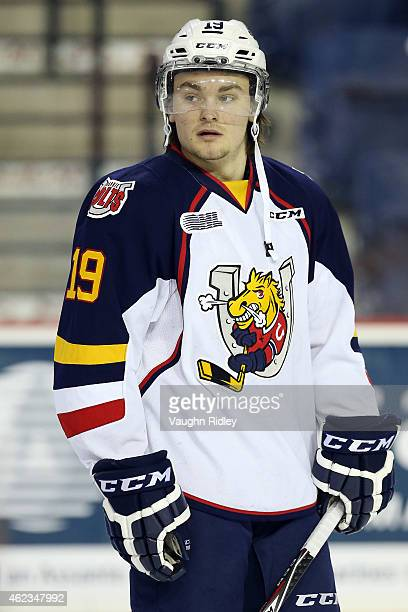 Rasmus Andersson of the Barrie Colts skates during warmup prior to an OHL game against the Niagara IceDogs at the Meridian Centre on January 25 2015...
