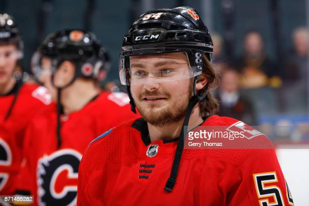 Rasmus Andersson of the Calgary Flames at warm up in an NHL game against the Vancouver Canucks at the Scotiabank Saddledome on November 7 2017 in...