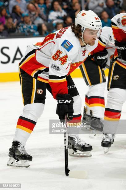 Rasmus Andersson of the Calgary Flames looks during a NHL game against the San Jose Sharks at SAP Center at San Jose on April 8 2017 in San Jose...