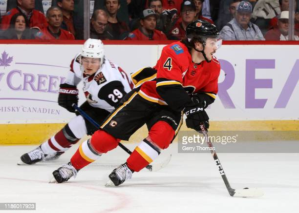 Rasmus Andersson of the Calgary Flames skates against the Arizona Coyotes on November 5 2019 at the Scotiabank Saddledome in Calgary Alberta Canada