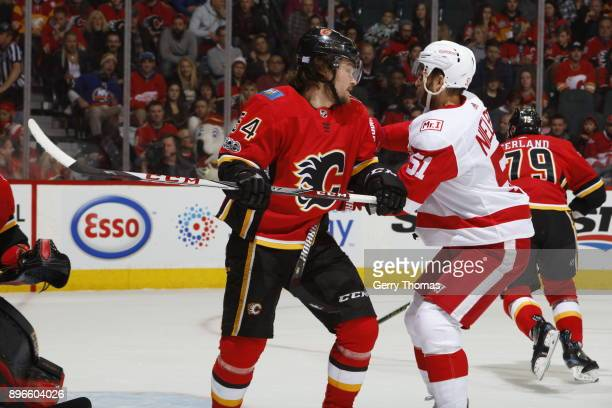 Rasmus Andersson of the Calgary Flames skates against the Detroit Red Wings during an NHL game on November 9 2017 at the Scotiabank Saddledome in...