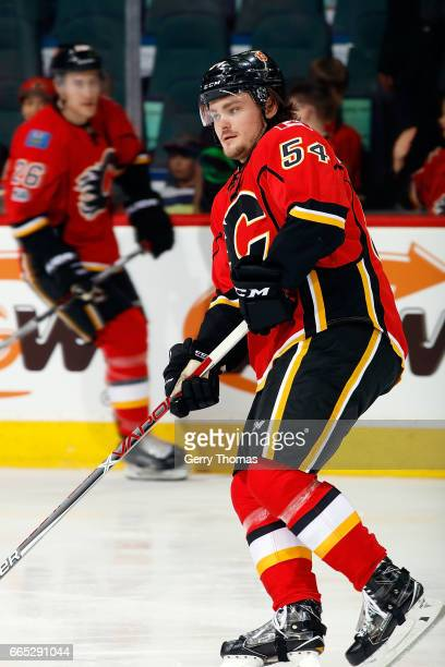 Rasmus Andersson of the Calgary Flames skates against the San Jose Sharks during an NHL game on March 31 2017 at the Scotiabank Saddledome in Calgary...
