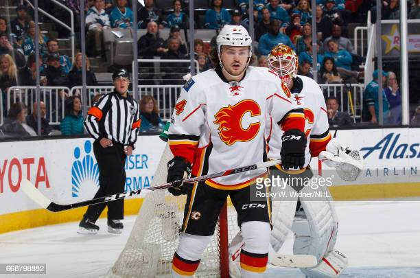 Rasmus Andersson of the Calgary Flames skates against the San Jose Sharks at SAP Center on April 8 2017 in San Jose California