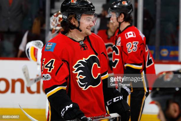 Rasmus Andersson of the Calgary Flames skates before an NHL game against the Colorado Avalanche on March 27 2017 at the Scotiabank Saddledome in...