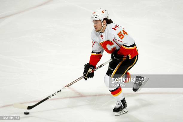 Rasmus Andersson of the Calgary Flames skates during a NHL game against the San Jose Sharks at SAP Center at San Jose on April 8 2017 in San Jose...