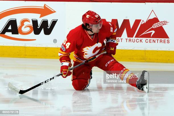 Rasmus Andersson of the Calgary Flames skates in the warmups before an NHL game against the Los Angeles Kings on March 19 2017 at the Scotiabank...