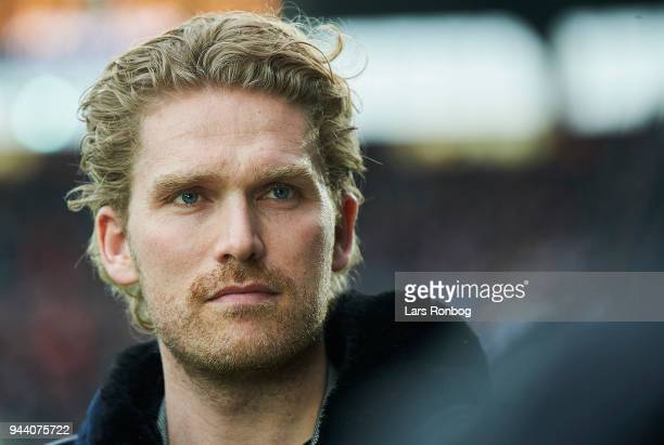 Rasmus Ankersen chairman of the board of FC Midtjylland looks on prior to the Danish Alka Superliga match between FC Midtjylland and FC Copenhagen at...