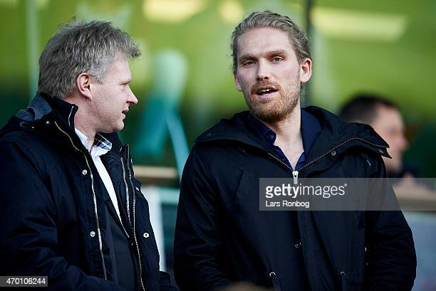 Rasmus Ankersen president and chairman of FC Midtjylland looks on prior to the Danish Alka Superliga match between FC Midtjylland and Silkeborg IF at...